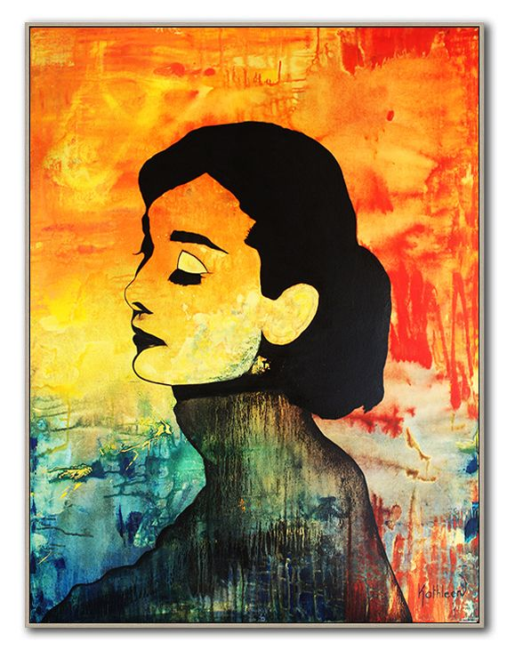 Audrey Hepburn Painting Original, Art Deco, Wall Art, Contemporary ...