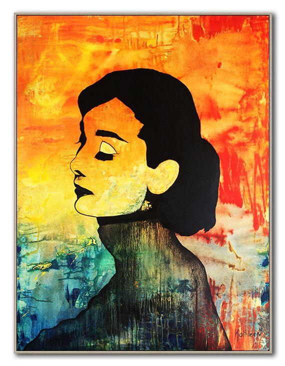 Audrey Hepburn Painting Original, Art Deco, Wall Art, Contemporary Art, Modern Painting Canvas, Ready to Hang Art by Kathleen Artist.