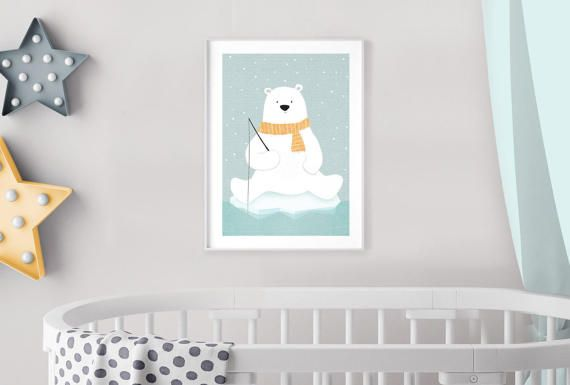 Nursery Decor Polar Bear Art