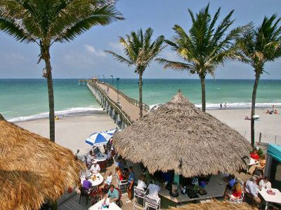 Sharky S On The Pier Only Beachfront Restaurant And Tiki Bar In Venice Fl With A Fishing Great Food Beautiful View