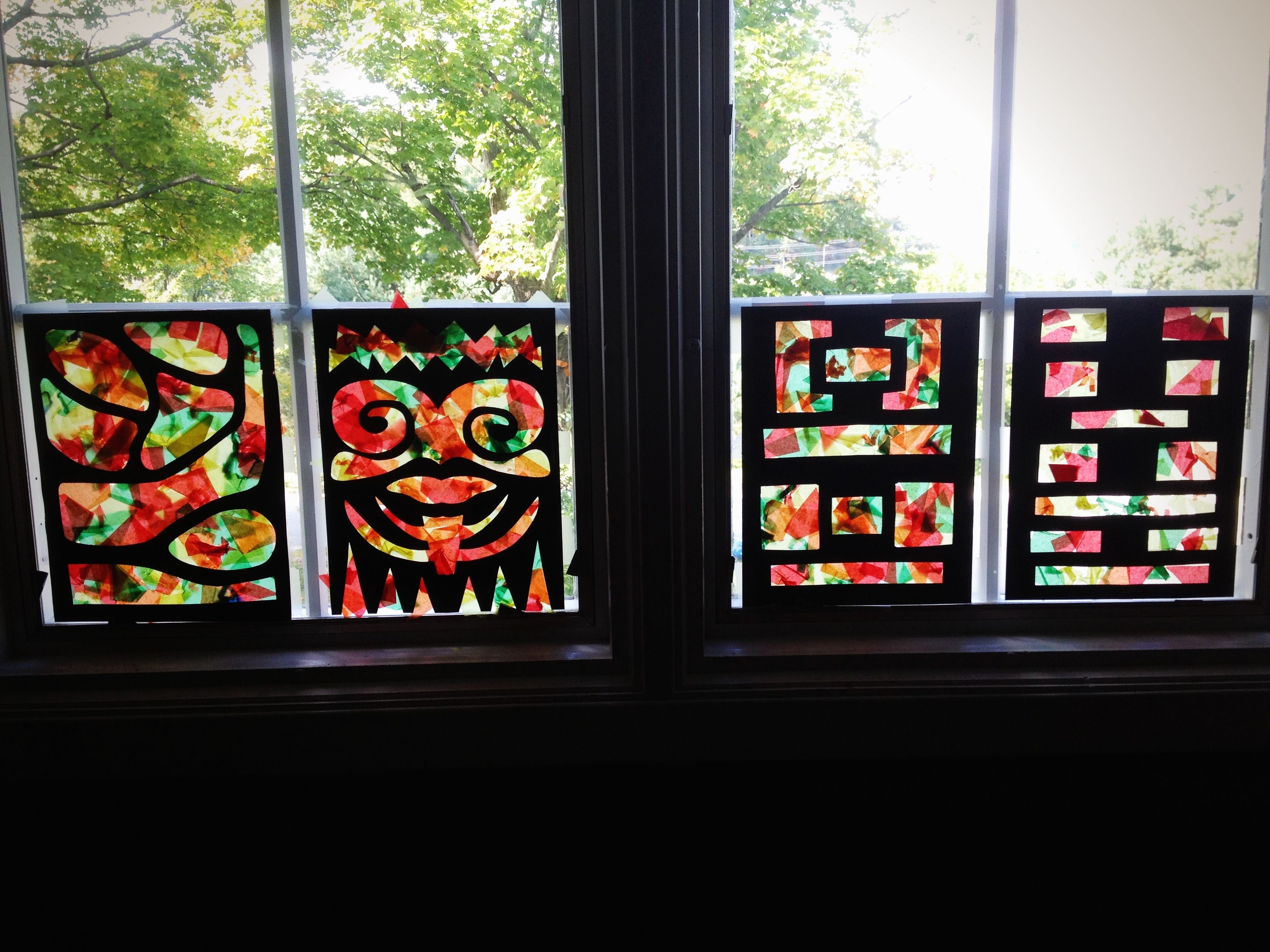 Tissue paper faux stained glass window craft for preschool for Stained glass window craft with tissue paper