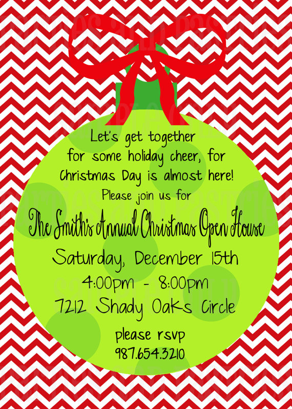 Open House Or Christmas Party Invitation By Partiesandpastries 10 Christmas Open House Invitations Holiday Open House Invitations Christmas Party Invitations