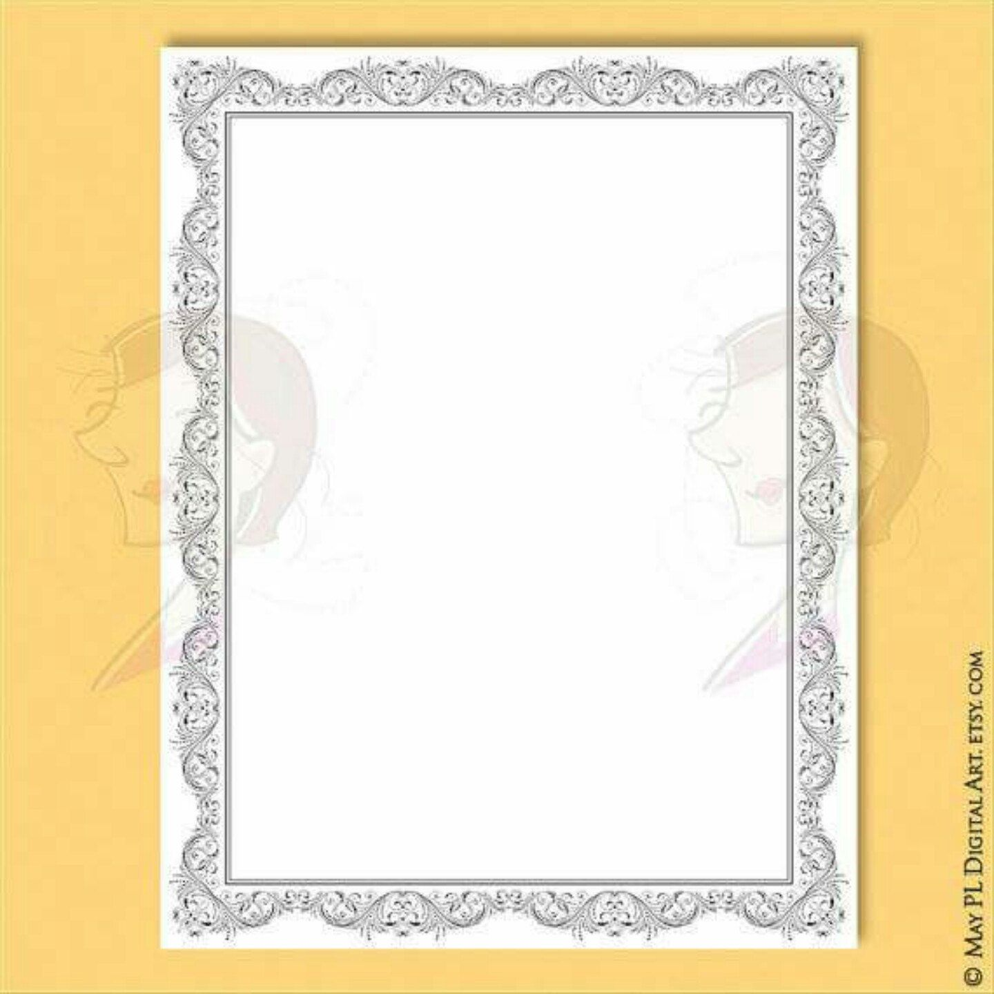 Flourish Frame Clipart 8x11 Certificate Page Borders VECTOR Diploma ...