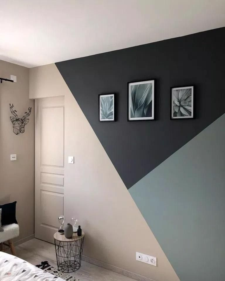 45 Amazing Geometric Wall Art Paint Design Ideas To Inspire You Geometricwall Wall Wallar In 2020 Bedroom Wall Designs Bedroom Wall Paint Living Room Color Schemes