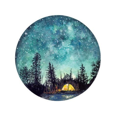 Camping at Night Giclée Watercolour Art Print #campingpictures