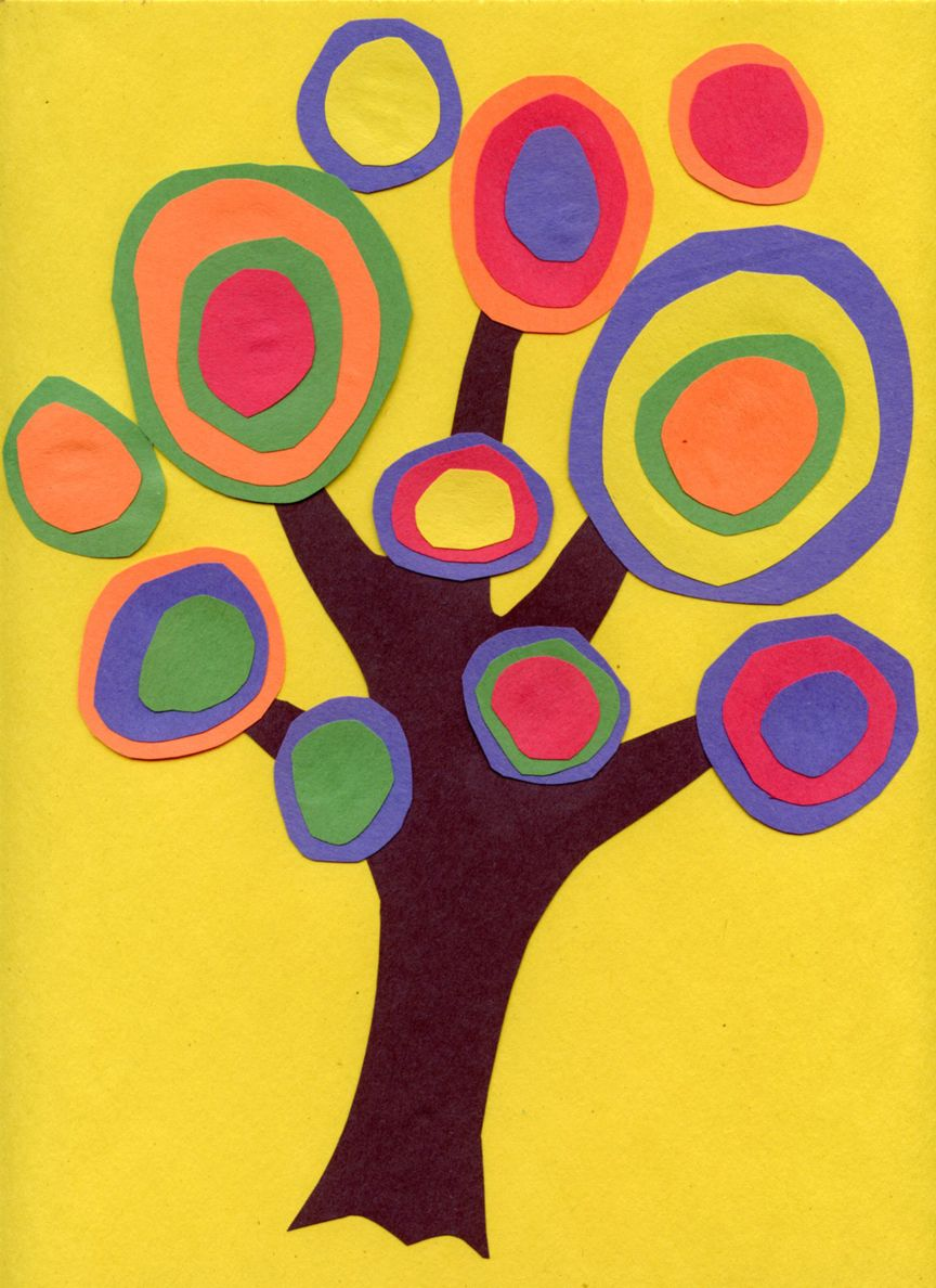 Kandinsky Trees (great idea for earth day) Students cut out a tree ...