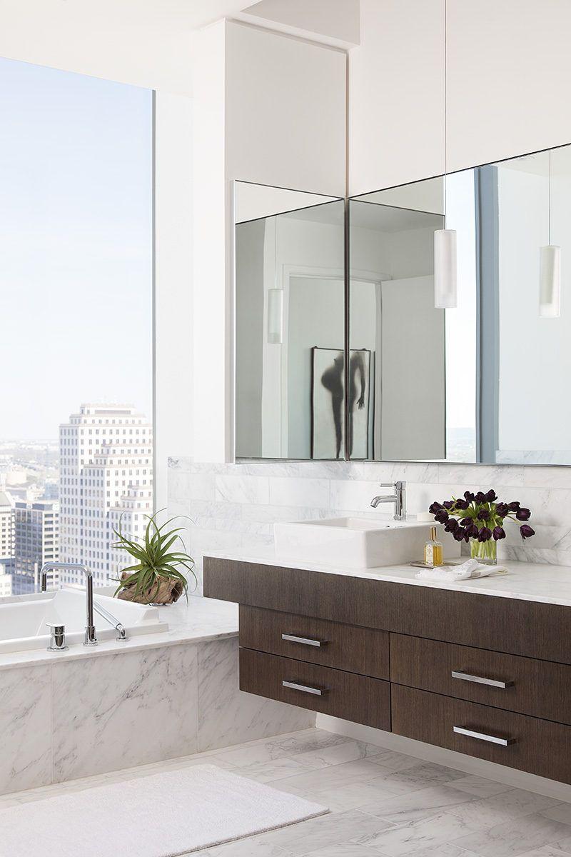 Bathroom interior wall apartment interior uses a mondrianinspired wall design to hide a tv