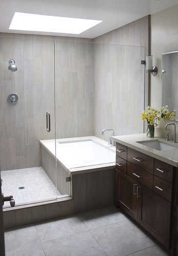 used walk in bathtub. combined bath shower converted into separate ones glassed in together  used wood plank looking tile Kid s bathroom remodel our design Wood planks Bath and Plank