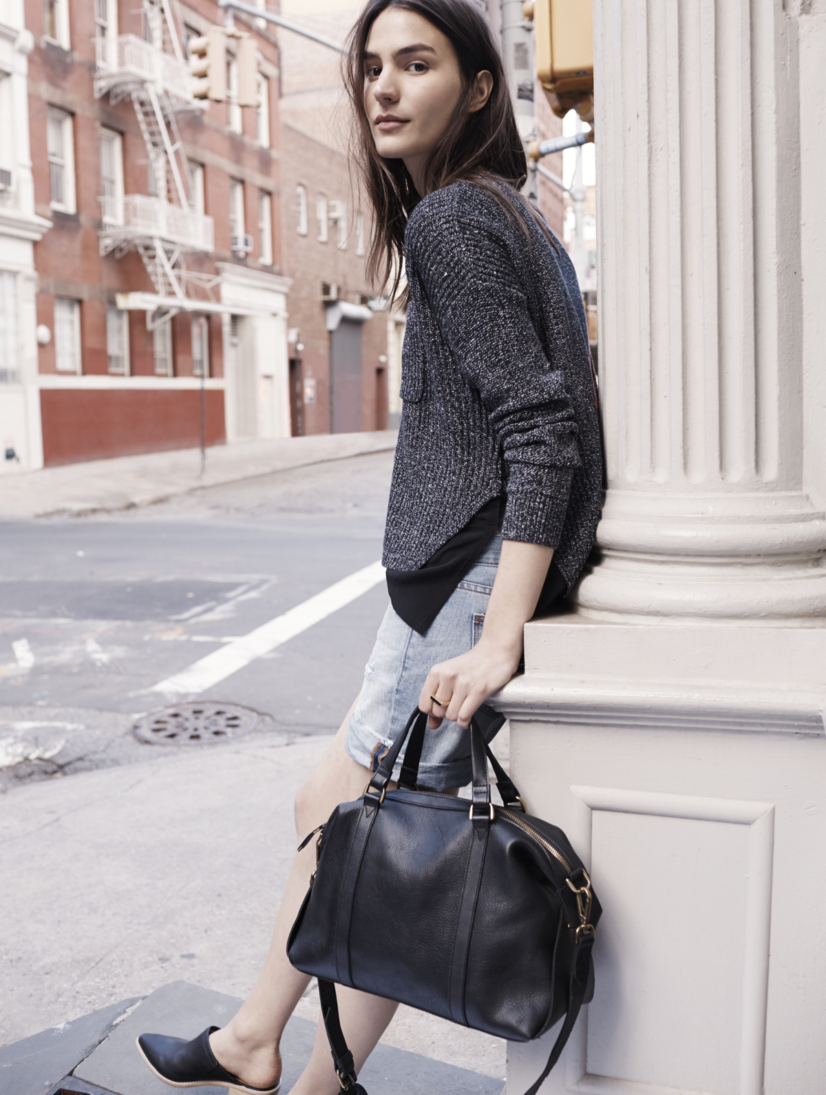 Madewell Glasgow satchel worn with the Alliance pullover, denim ...