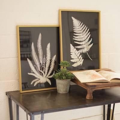 Framed Fern Print Pair is part of Home Accessories Black White Gold -