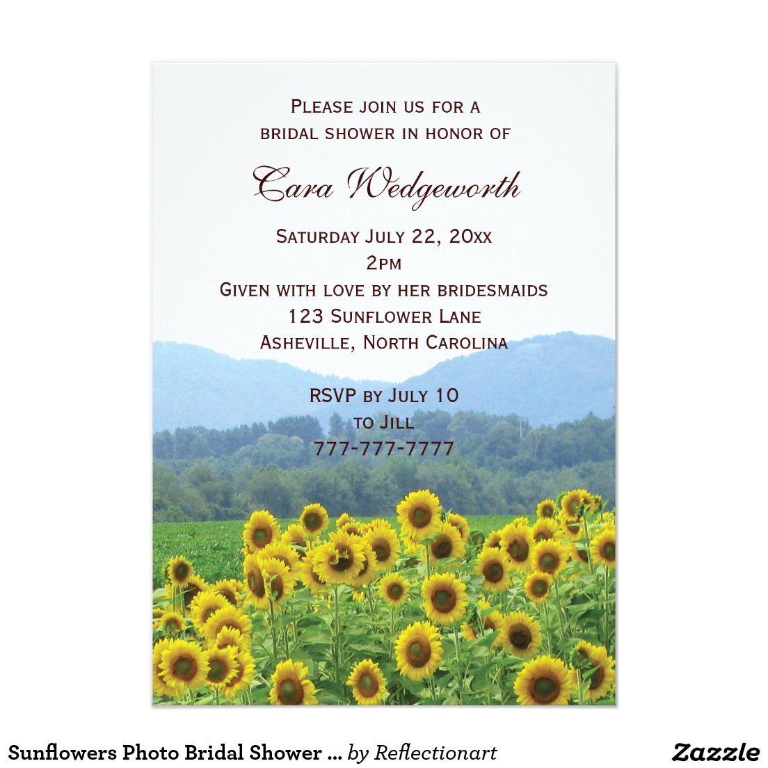 Sunflowers Photo Bridal Shower Invitation | Sunflower wedding ...