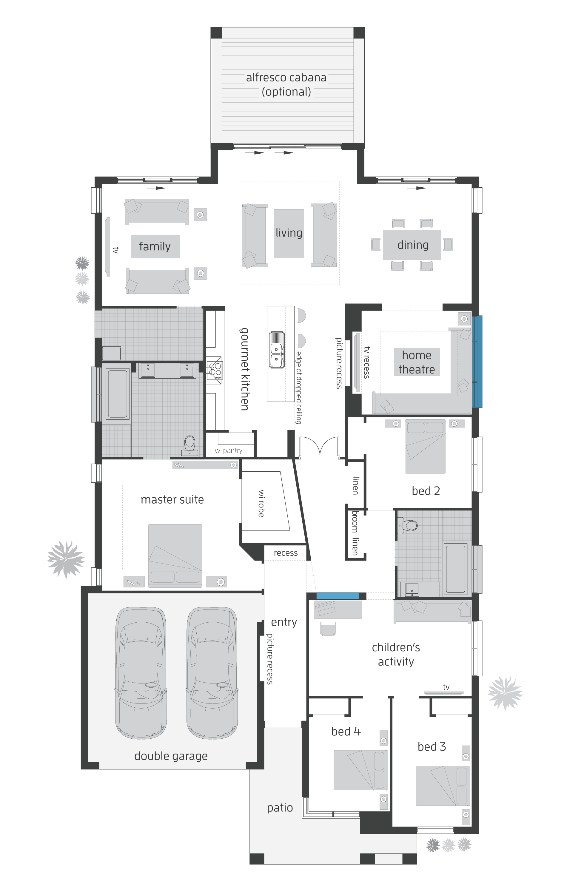 Beach House Grange - rear alfresco floor plan