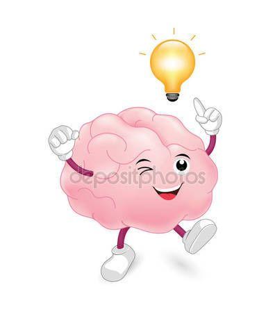 Personaje de dibujos animados lindo cerebro con bombilla  Vector