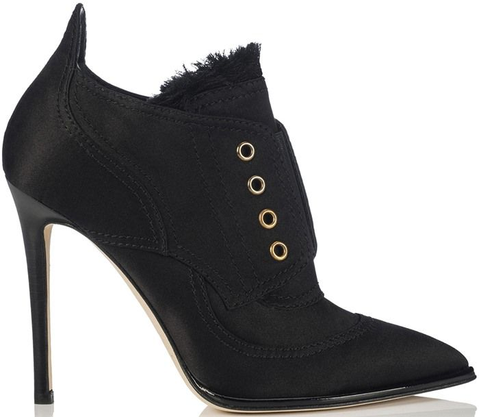 dde76e048bdc7 Jimmy Choo Mitsu Black Frayed Satin Mix and Elastic Ankle Booties ...
