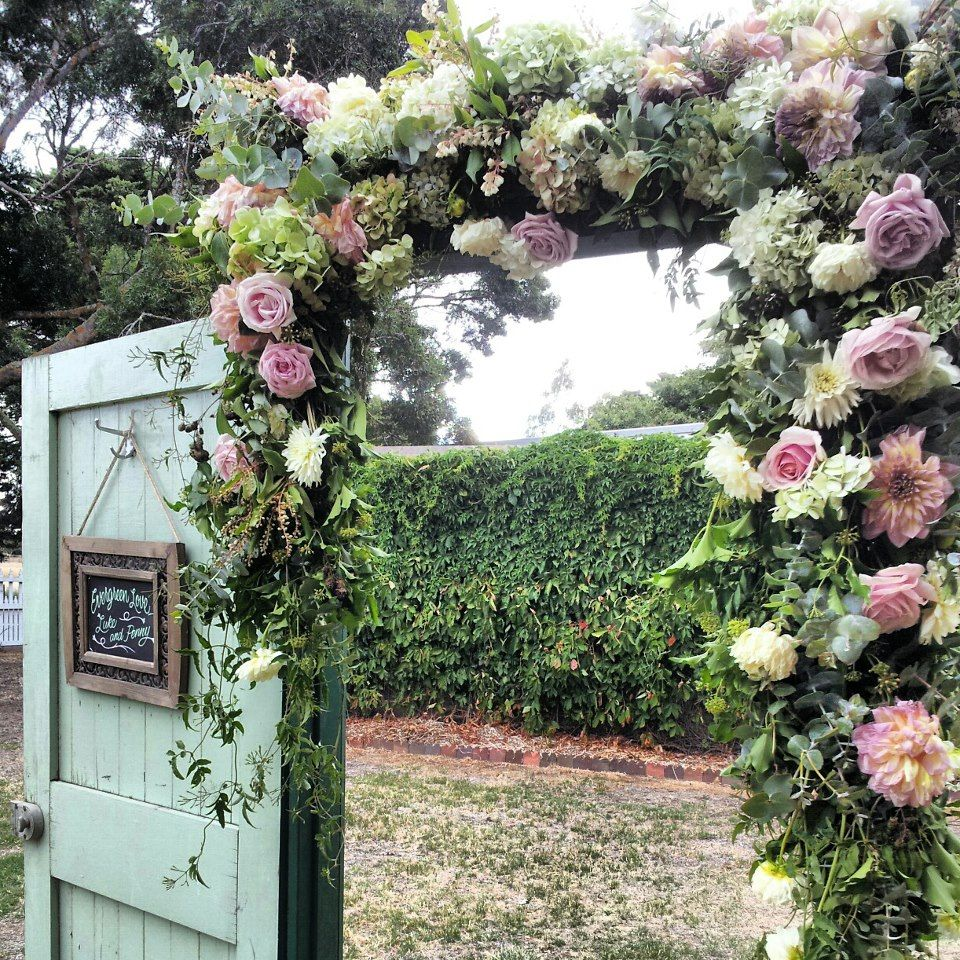 Flower Arch For Wedding: Wedding Arch, Roses, Dahlia, Jasmine, Gum By Botanica