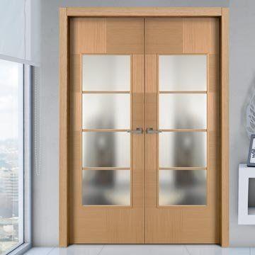 Sanrafael Lisa Glazed Double Door - Model K12V4 Reconstituted Oak Prefinished. #designerdoors #doubledoors #glazeddoubledoors