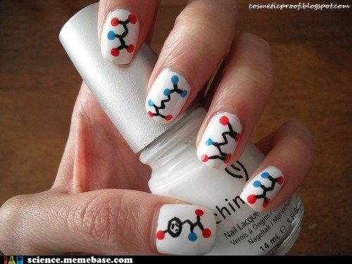 19. A manicure to match: organic chemistry nails. I especially love the detail of the benzene hydrocarbon ring on the thumb! #modcloth #makeitwork
