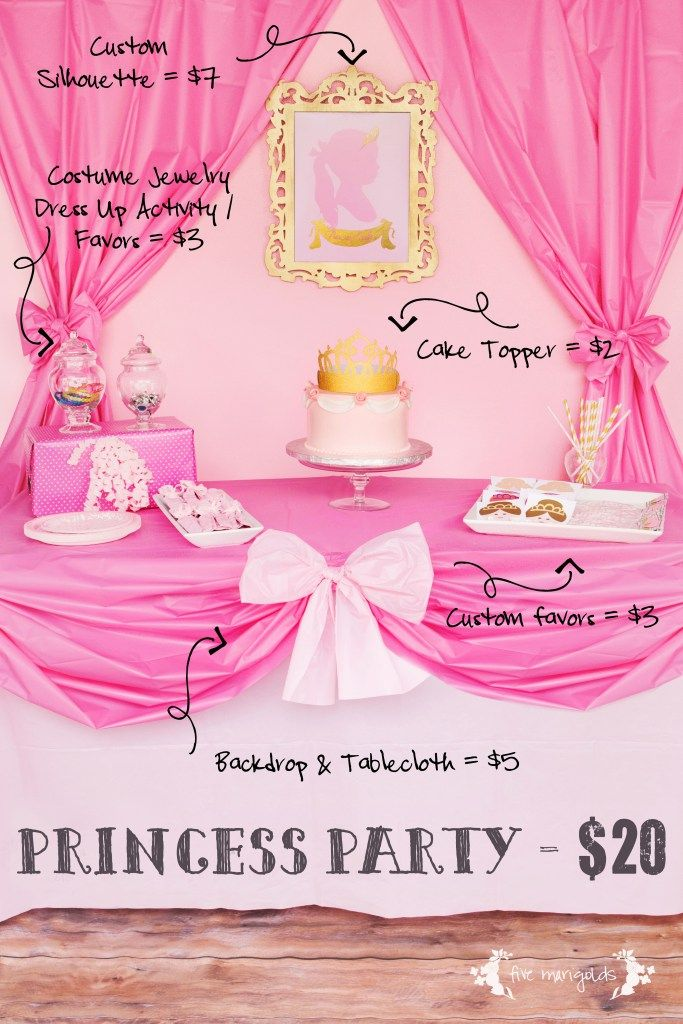DIY Complete Pink Princess Birthday Party $20 Favors + Table Setting   www.fivemarigolds.com