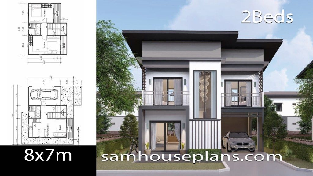 House Plans Idea 8x7 With 2 Bedrooms Samhouseplans In 2020 Loft House Design House Plans 2 Storey House Design