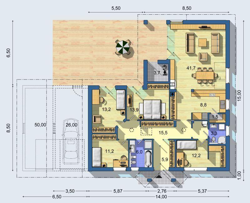 Typov projekt euroline bohemia bungalov 1371 domy for Piccoli piani bungalow