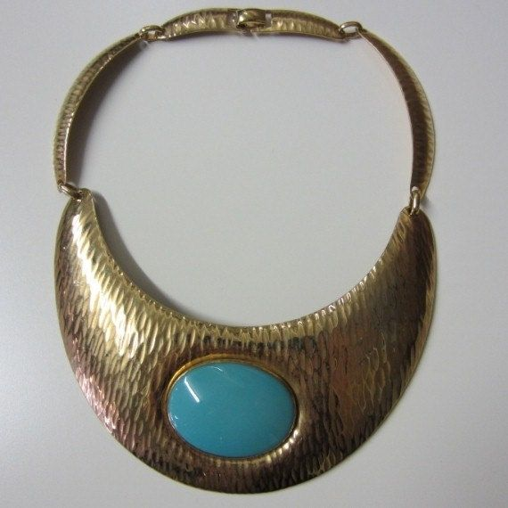 Huge Vintage 1960's Statement Choker Necklace Gold Textured Egyptian Turquoise
