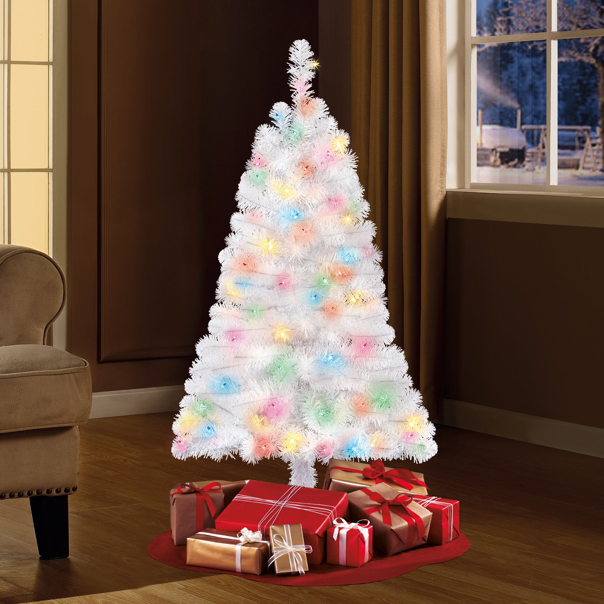 Holiday Time PreLit 4' Indiana Spruce White Artificial