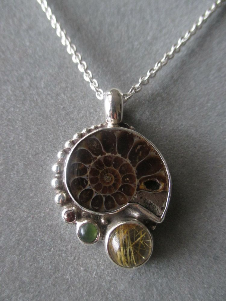 Ammonite Necklace on 16 Inch Solid Gold Chain