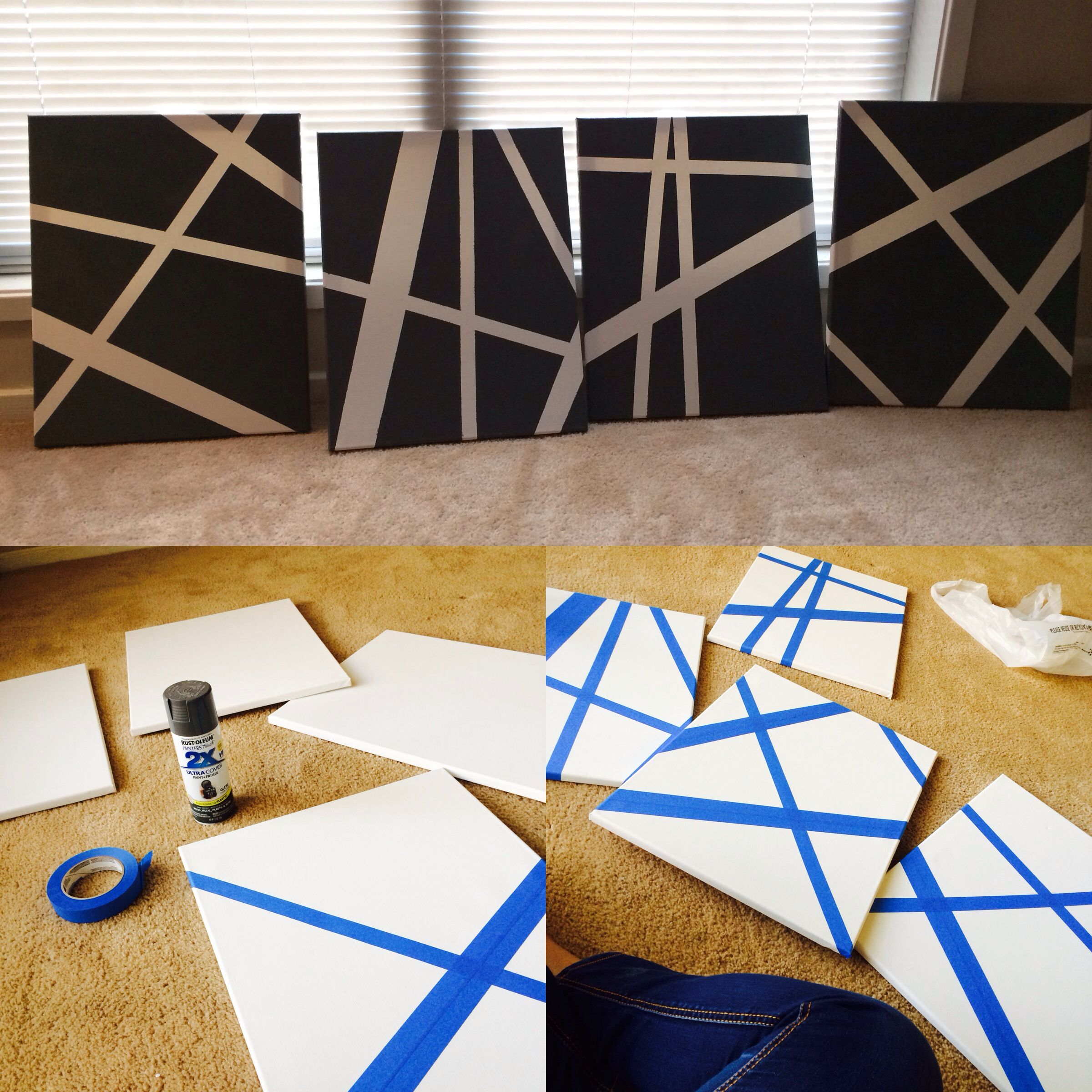 Painting Ideas With Tape: DIY WALL ART! Canvas, Painters Tape And Spray Paint Is All