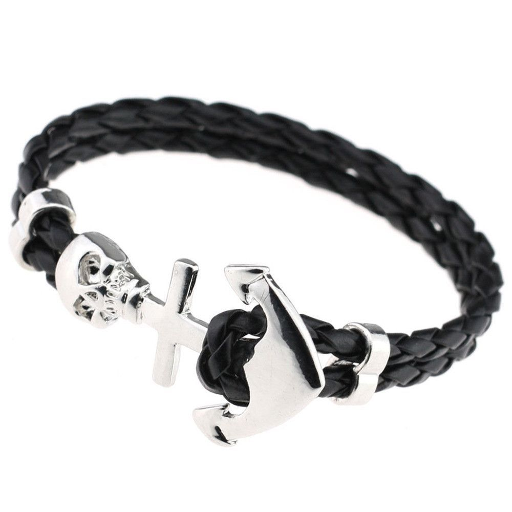 New design fashion genuine vintage anchor leather bracelet for man