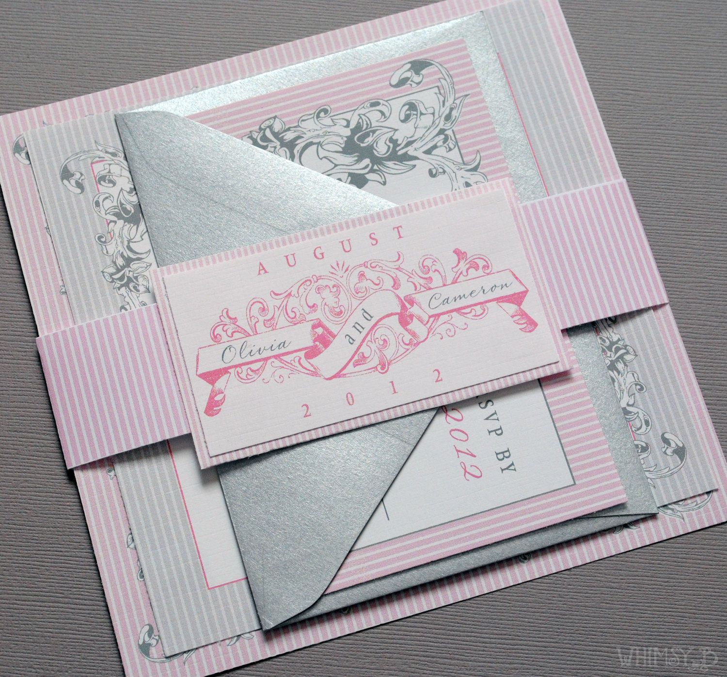 59db2739db5e45738a3ac3fa438a18ef pink vintage wedding invitations wedding suite with belly band,Modern Vintage Invitations