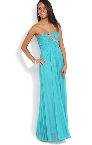 Deb Prom Strapless Long Prom Dress With Stone Detail Bodice And