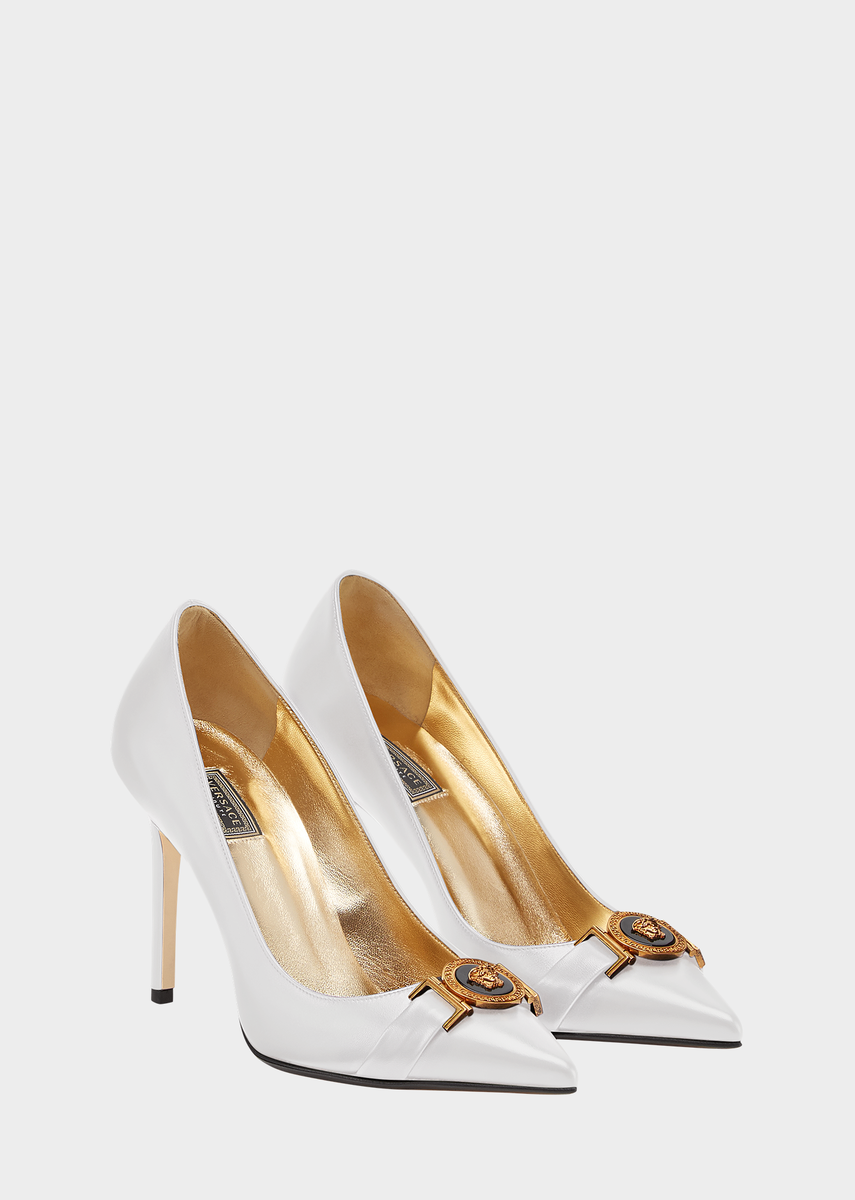 ade5f2b11 Icon Leather Pumps from Versace Women's Collection. Pointed leather pumps  crafted in supple calf leather feature leather lining in tribute gold tone  with ...
