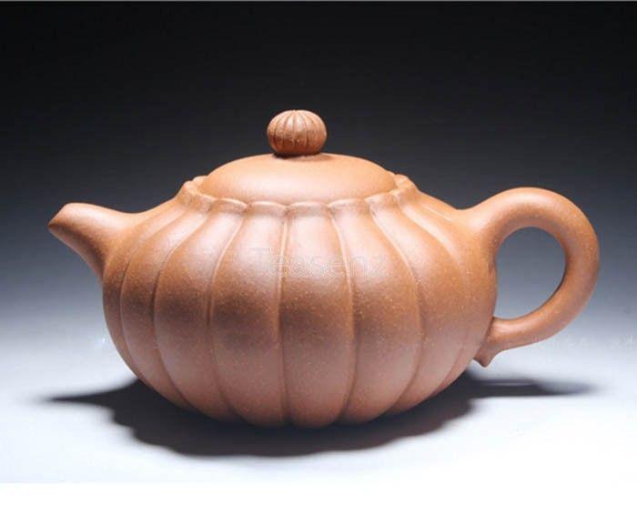 An exotic looking Yixing clay teapot that resembles a pumpkin. Semi-handmade from Jiang Po Ni.