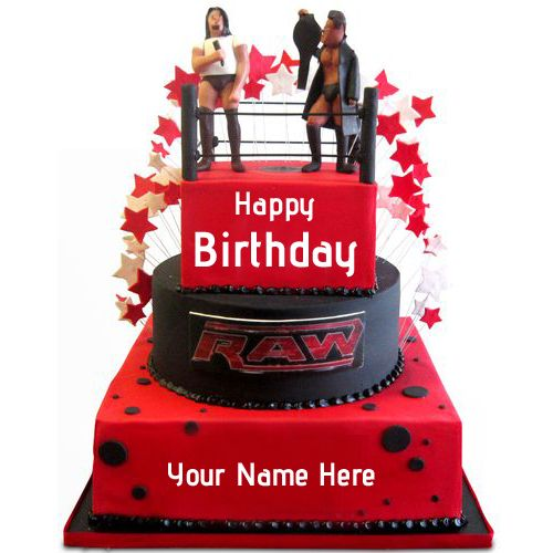 Write Name on WWE Wrestling Ring Theme Birthday CakeCreate Name