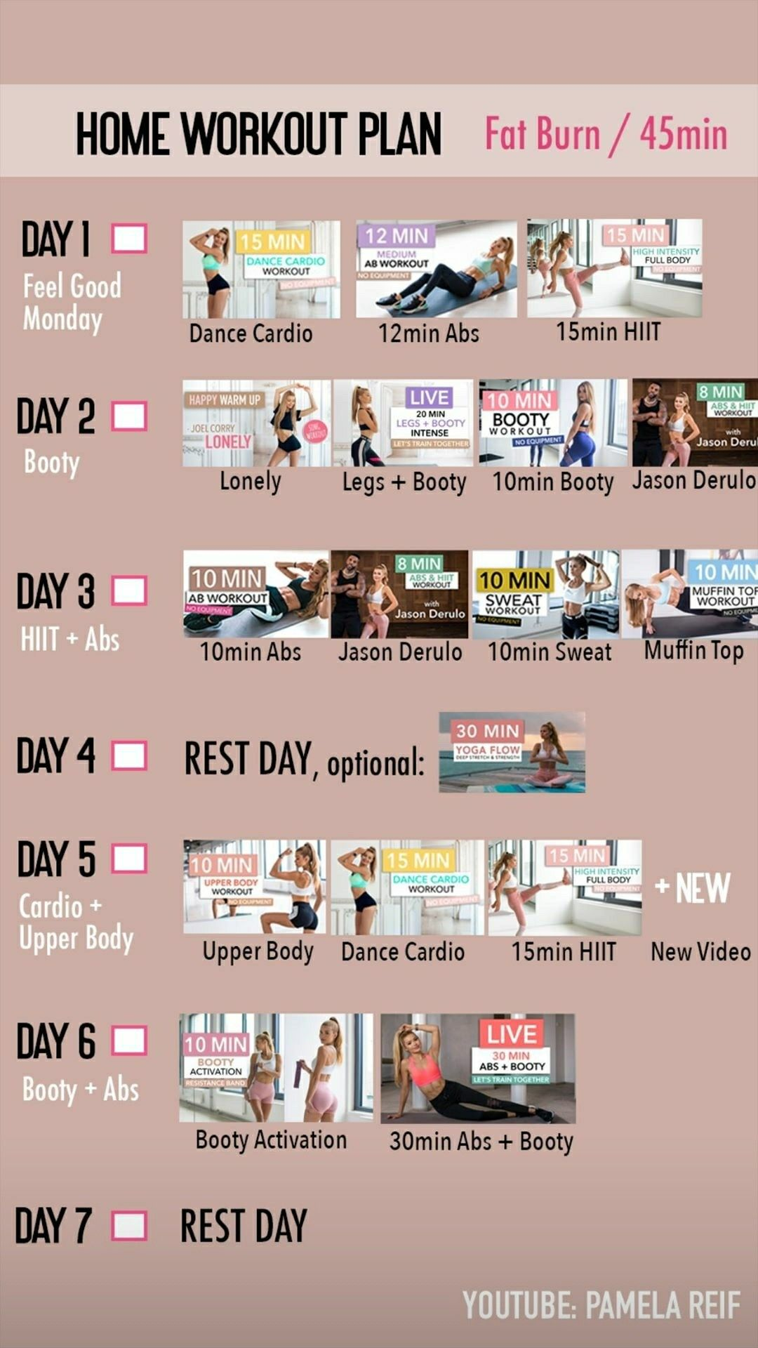 Pamela Reif Week 5 At Home Workout Plan At Home Workouts How To Plan