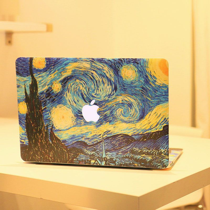 finest selection e106d a7e4e 2pcs/set Starry Night Oil Painting Decal For Apple MacBook Air Pro ...