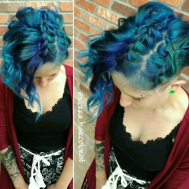 Blue hair! L'anza Vibes Blue Teal colors. Braid. Short ...