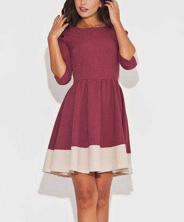 Look at this #zulilyfind! Burgundy & Beige Color Block Fit & Flare Dress #zulilyfinds