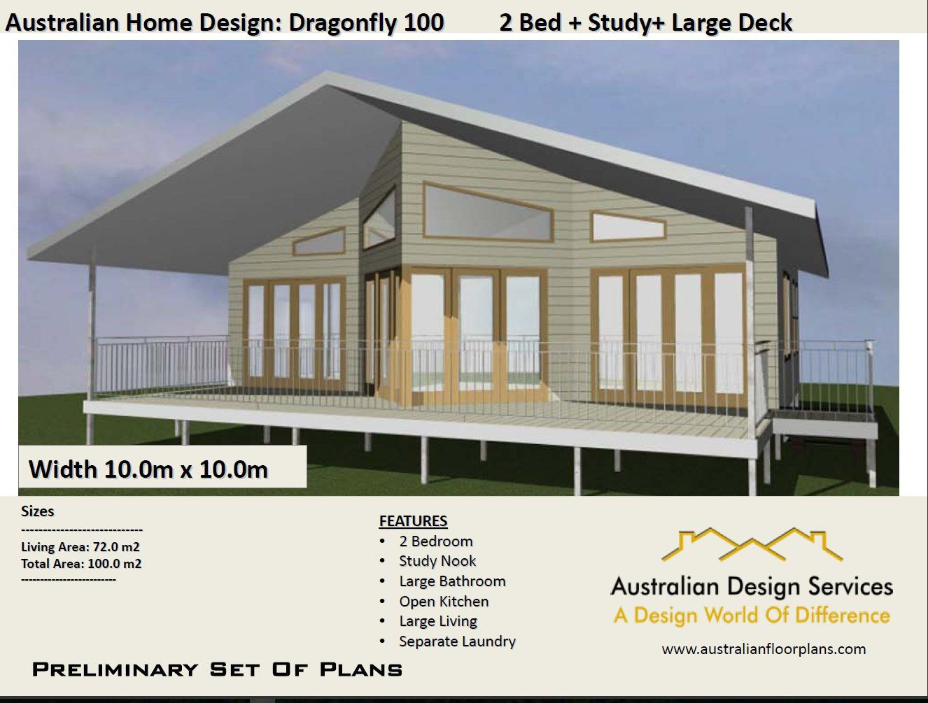 Superior 2 Bed + Study Nook Home Design   House Plan SALE   Living Area 72 M2