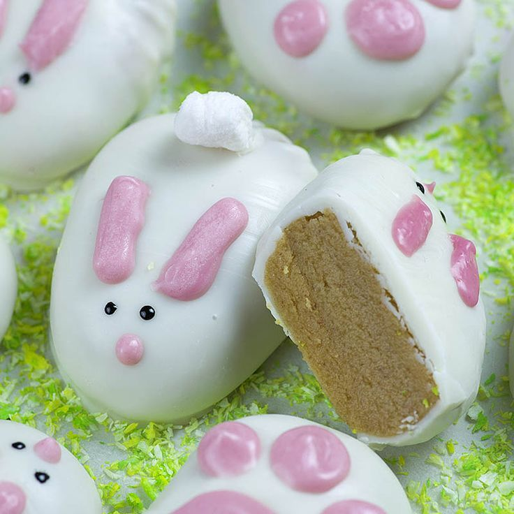 Chocolate covered peanut butter easter bunnies and bunny