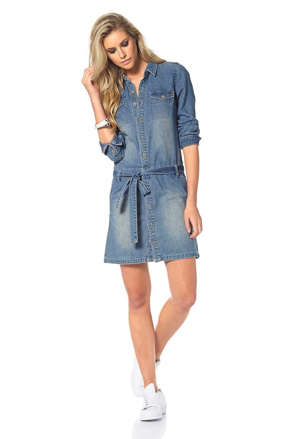 Arizona Jeanskleid »Volant-Ärmelabschluß«, mit seitlichen ...