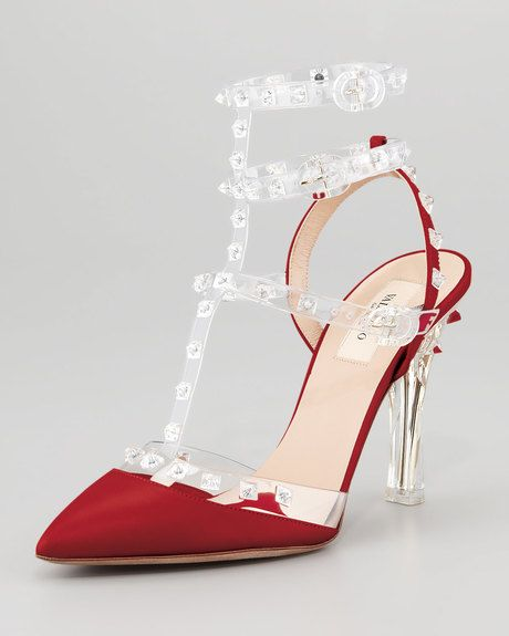 Valentino Red Naked Rockstud Slingback [Valentino] - $206.15 : Discounted Christian Louboutin,Jimmy Choo,Valentino Shoes Online store