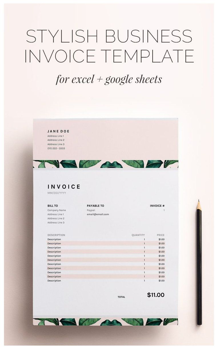 Invoice Template Business Invoice Spreadsheet Google Sheets Excel Invoice Freelance Invoice Design Busi Invoice Design Invoice Template Business Template