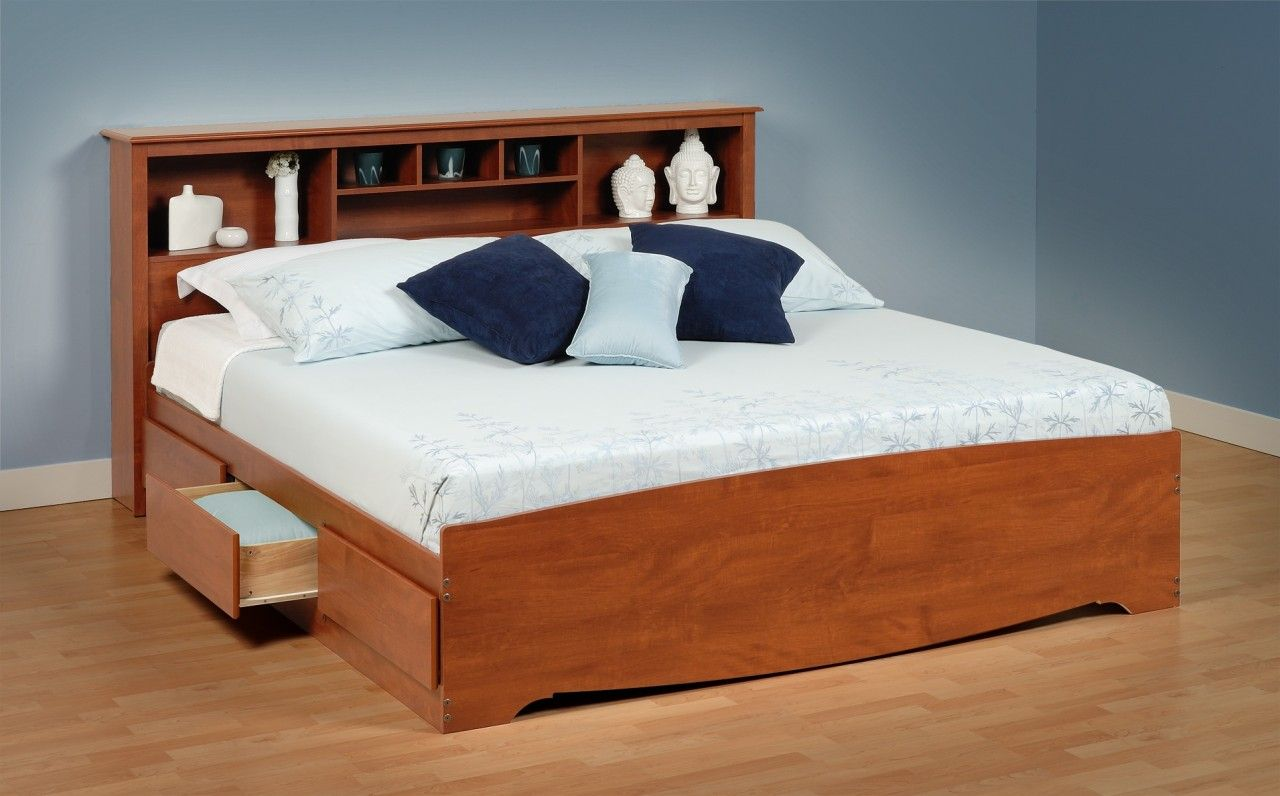 Platform beds with storage drawers cherry king size for Pedestal bed