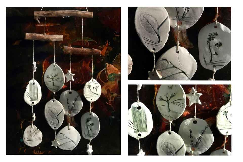 Mobile Windspiel Keramik Naturmotive Deko