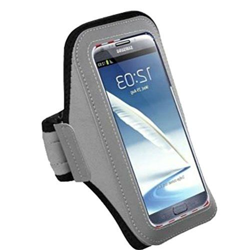 """myLife Silver Fox Grey {Rain Resistant Velcro Secure Running Armband} Dual-Fit Jogging Arm Strap Holder for Samsung Galaxy Note 3 """"All Ports Accessible"""" myLife Brand Products http://www.amazon.com/dp/B00U7Z16GK/ref=cm_sw_r_pi_dp_Qyzhvb01GNTQY"""