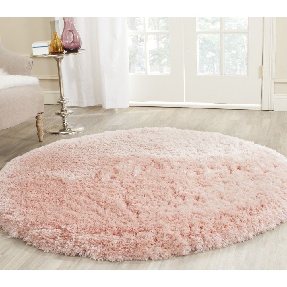 Safavieh Handmade Arctic Shag Pink Polyester Rug 5 Round Alice