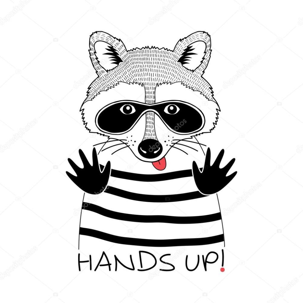 Скачать - Енот в маске черной вор — стоковая иллюстрация в ...
