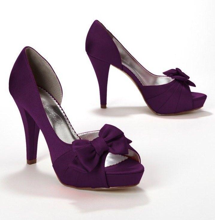 David's Purple Bridal Heels: Satin Peep Toe Platform High Heel ...