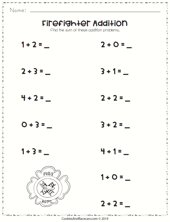 Addition Worksheet For Kindergarten Or First Grade With Firefighter Logo Great For A Fi Kindergarten Addition Worksheets Kindergarten Worksheets Preschool Fun